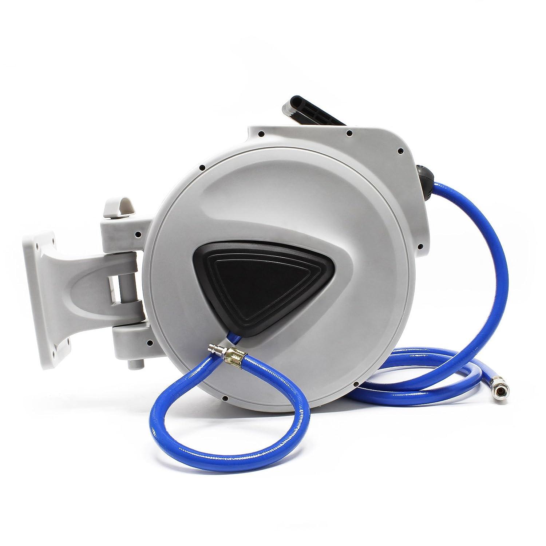 Tambor manguera aire comprimido rodillo carrete automático 20m enrollador compresor aire presión: Amazon.es: Jardín