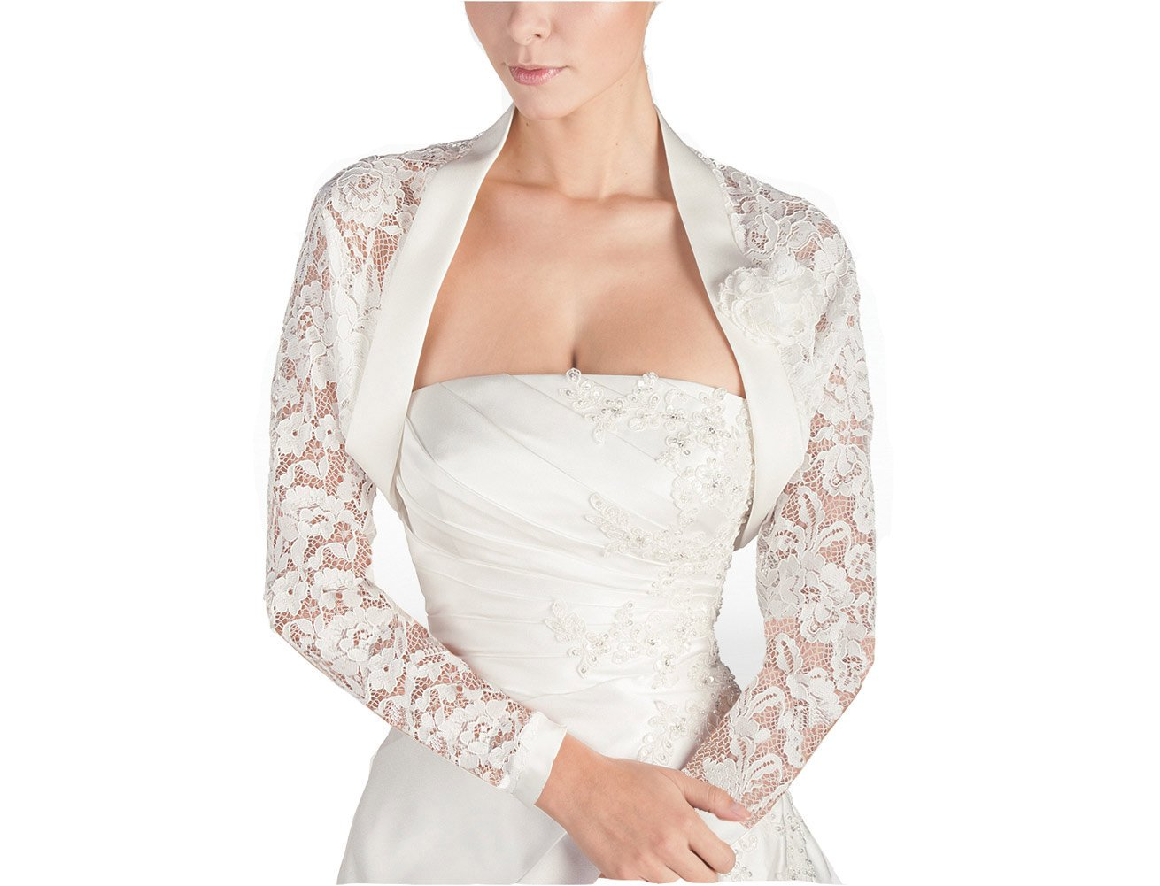 GEORGE BRIDE Women's 3/4 Sleeve Length Lace Bridal Jacket(M-long Sleeve, White) by GEORGE BRIDE