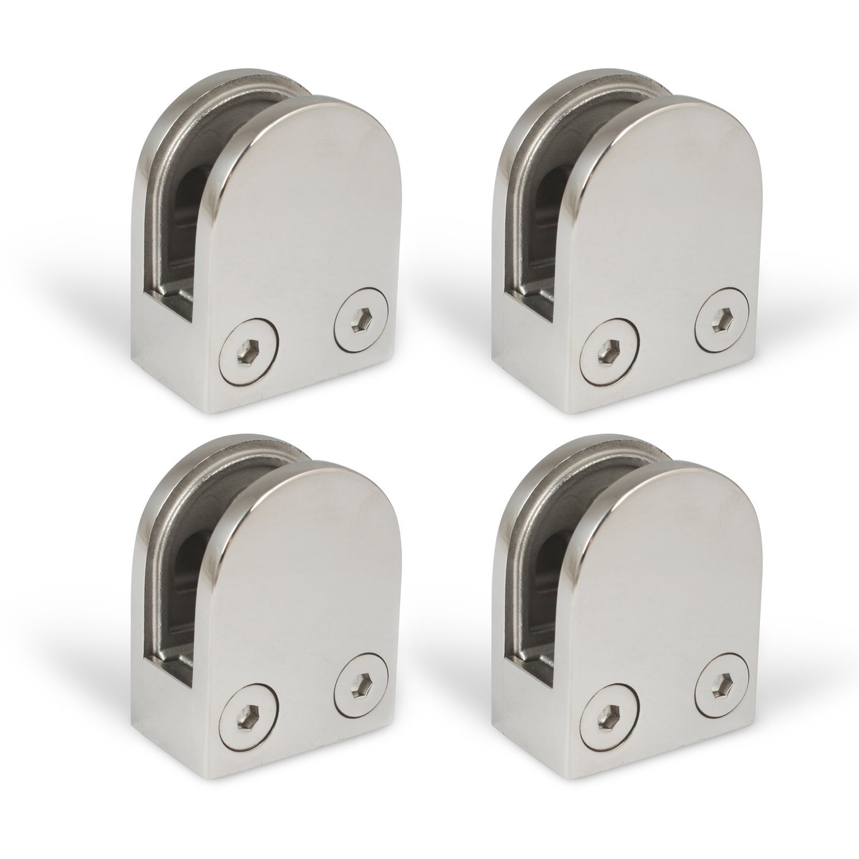 4 piezas. Kenley - Pinza de soporte para cristal, soporte de sujeció n, acero inoxidable AISI 304/316, superficie brillante/satinada soporte de sujeción