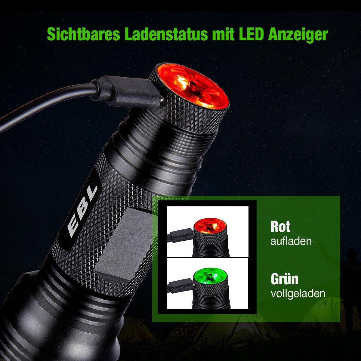 EBL Superhell CREE LED Taschenlampe 6 Modi Erstellbar USB Ladebar Wasserdicht Taschenlampe für Indoor Outdoor inkl. 2 Stück 3000mAh Wiederaufladbar Li-ionen Akku 18650