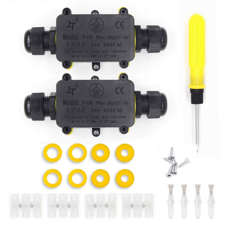 Bo/îte de Jonction /Étanche,IP68 Boite /Électrique,2 Voies Connecteurs Bo/îte pour C/âble /Ø 4 /à 9mm avec 3 Paires Taille Diff/érente de Bouchons de Silicone 1 Pack