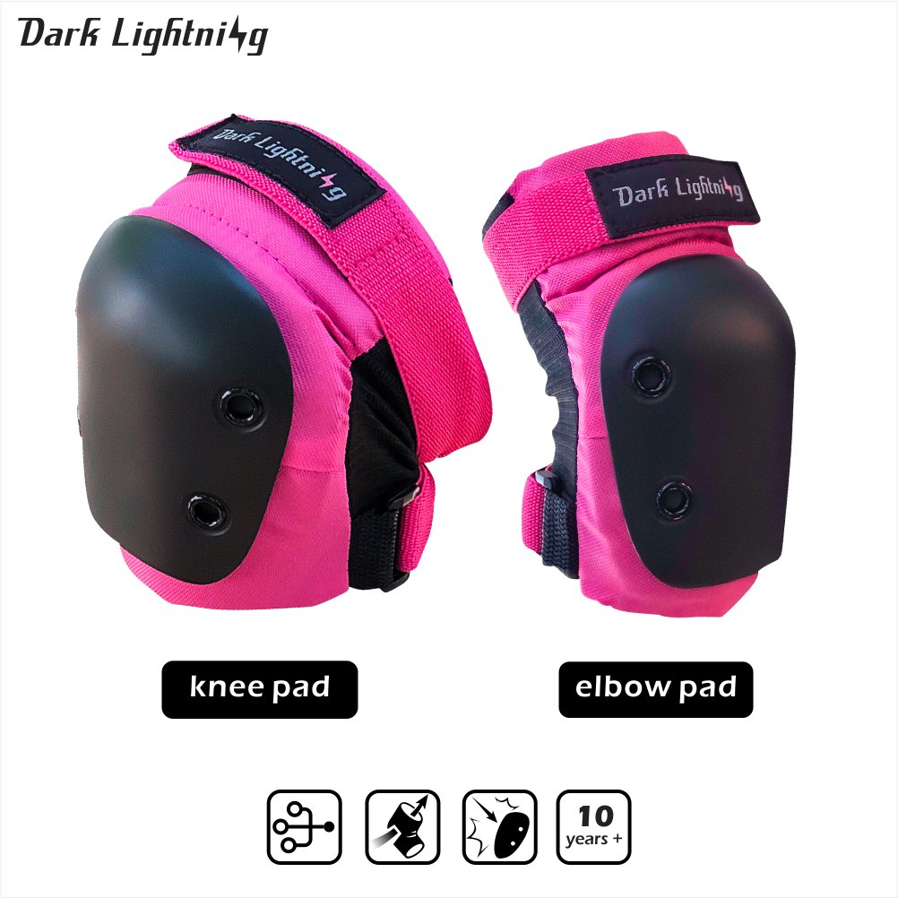 Girl's and Boy's Knee pad and Elbow pads 2 in 1 Protective Gear Set, Junior/Teenager/Youth for Skateboarding, Rollerblade, Inline Skating, Bicycle Bike ride,Suggest for 8 to 14 Years Old by Dark Lightning