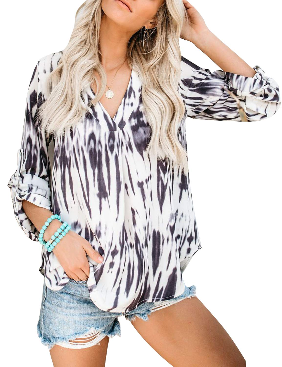 BMJL Women's Tie Dye Top Loose Blouse Long Sleeve V Neck T Shirt