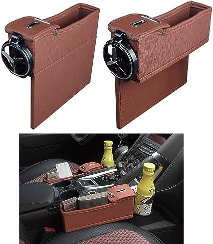 PU Leather Car Seat Gap Pocket Cup Holder Drink Bottle Storage Box