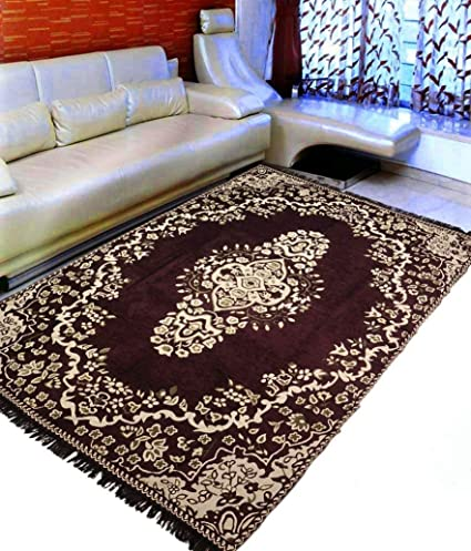 SANSEZZ Zeometric Ethnic Velvet Touch Abstract Chenille Carpet (5Feet X 7Feet) Multi