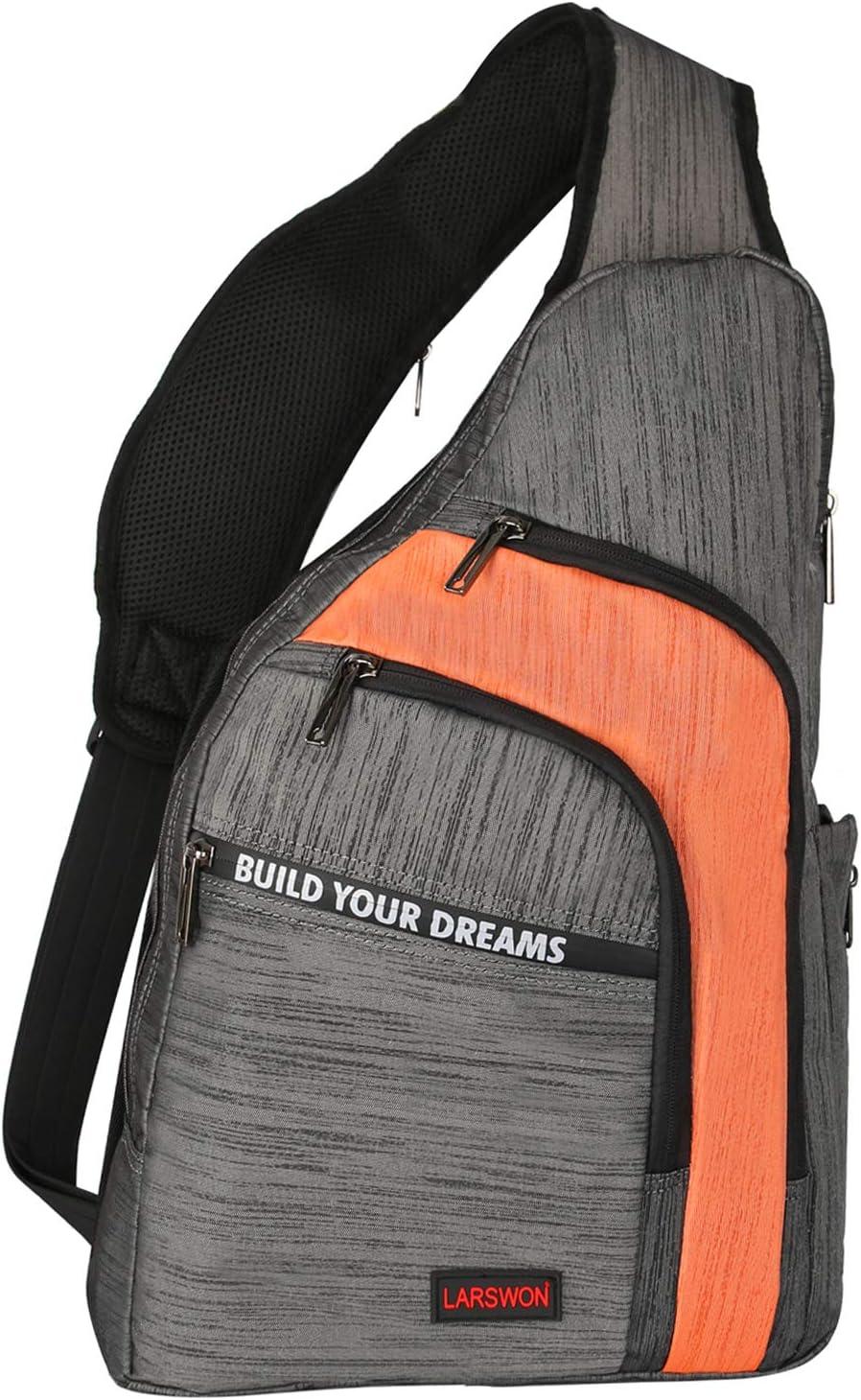 Larswon Sling Backpacks, Sling Bag for Laptop, Crossbody Bags Shoulder Bag Gray