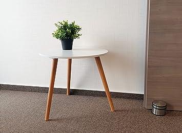 Design Couchtisch Weiß   Retro Beistelltisch 48 Cm   Holz Deko Tisch  Sofatisch
