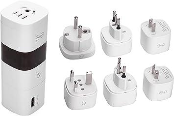 Adaptador de Viaje, Adaptador Universal de Pared para Enchufe de CA con Puerto de Carga USB para Reino Unido, Estados Unidos, AU, Europa, Italia y Suiza, Seis Tipos de Enchufe: Amazon.es: Electrónica