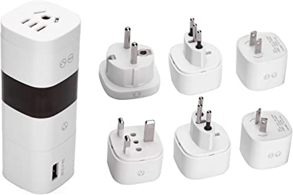 USB Universal Travel Adapter Wall Charger International AC Plug 6 Ports Black