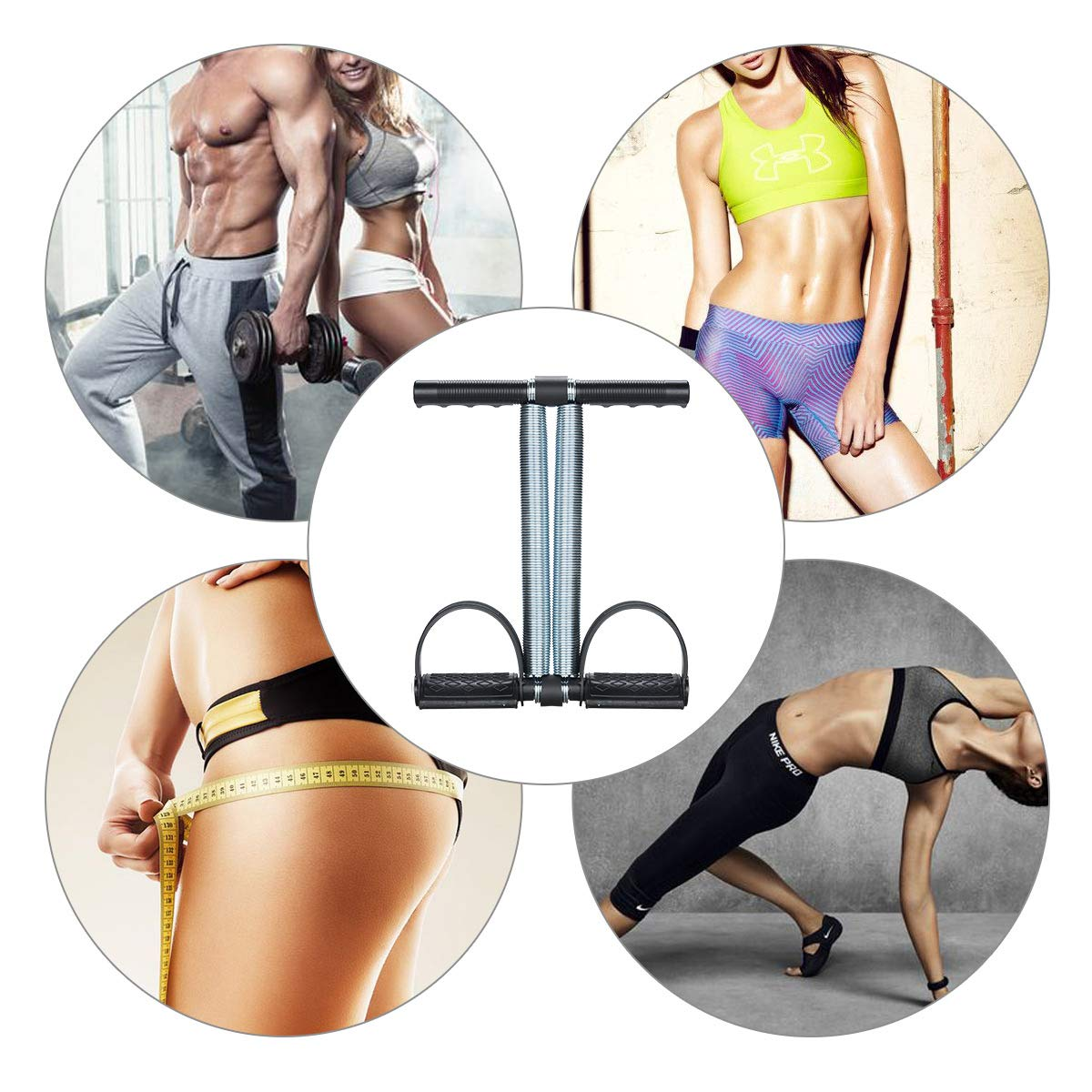 Black Lychee Elastic Sit Up Pull Rope Spring Tension Foot Pedal Abdomen Leg Exerciser Tummy Trimmer Equipment Bodybuilding Expander for Fitness Yoga Training