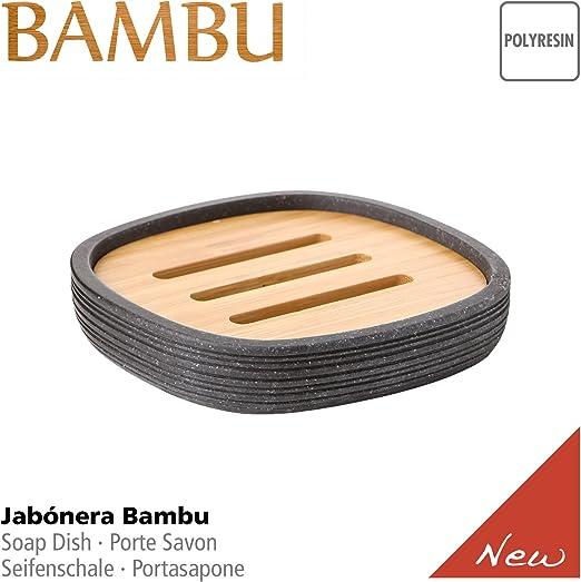 Bambu Collection Set Composito da Dosasapone Bicchiere Portaspazzolini e Portasapone Fatto di Alta Qualit/à Polyresin TATAY Colore Dark Grey Graphite e Finitura Opaca