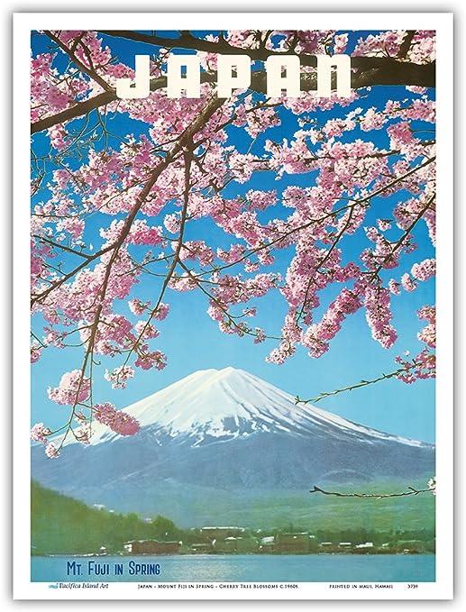 japan travel vintage poster art print painting canvas Sakura cheery blossom