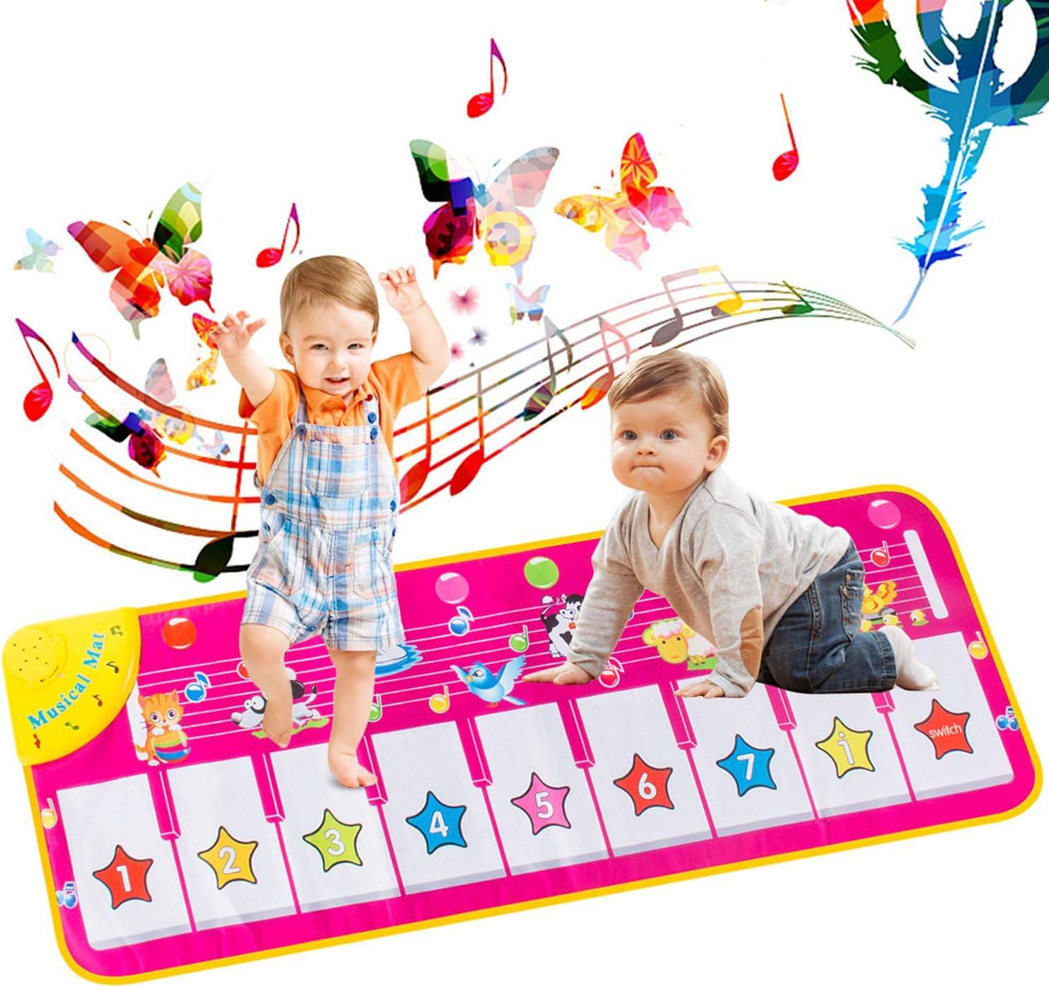 AOYMJRS Alfombrilla musical, Alfombra para Piano, Alfombrilla Infantil para Niños Juguetes con 9 Teclado,Tamaño (39 * 14 Pulgadas) Divertido Tapete de Baile para Niños Pequeños y Regalos para Niñas