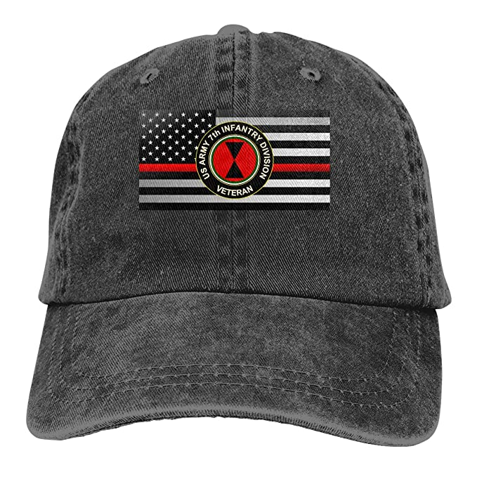 62e432b259b US Army 7th Infantry Division Veteran Thin Red Line Flag Denim Hats Washed  Retro Baseball Cap Dad Hat at Amazon Men s Clothing store