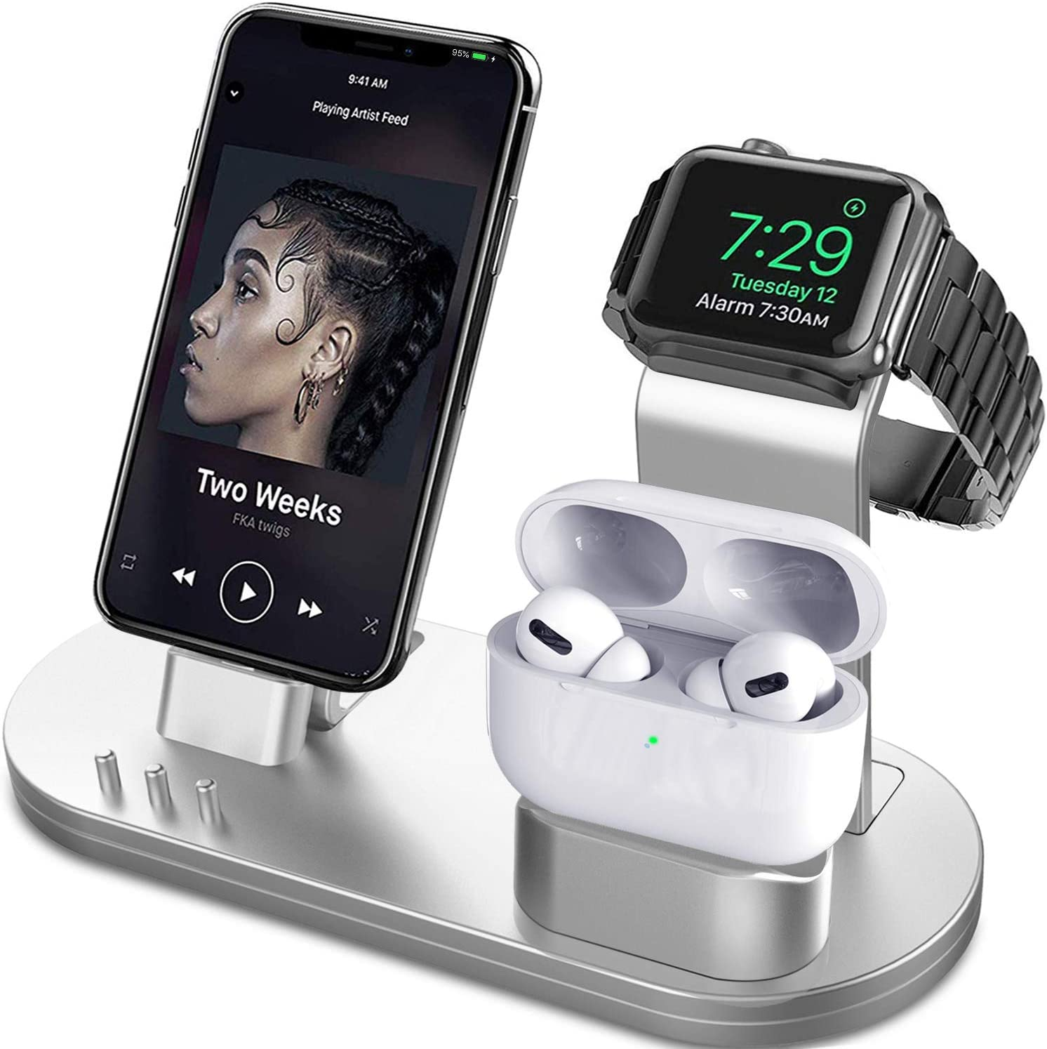 OLEBR 3 in 1 Charging Stand Compatible with iWatch Series 5/4/3/2/1, AirPods and iPhone 11/11 Pro/11 Pro Max/Xs/X Max/XR/X/8/8Plus/7/7 Plus /6S /6S Plus(Original Charger & Cables Required) Silver