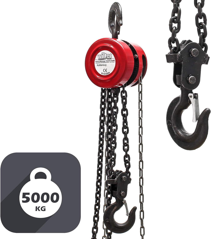 WilTec Palan /à cha/îne capacit/é 5000kg Longueur cha/îne 3m Levage de Charges