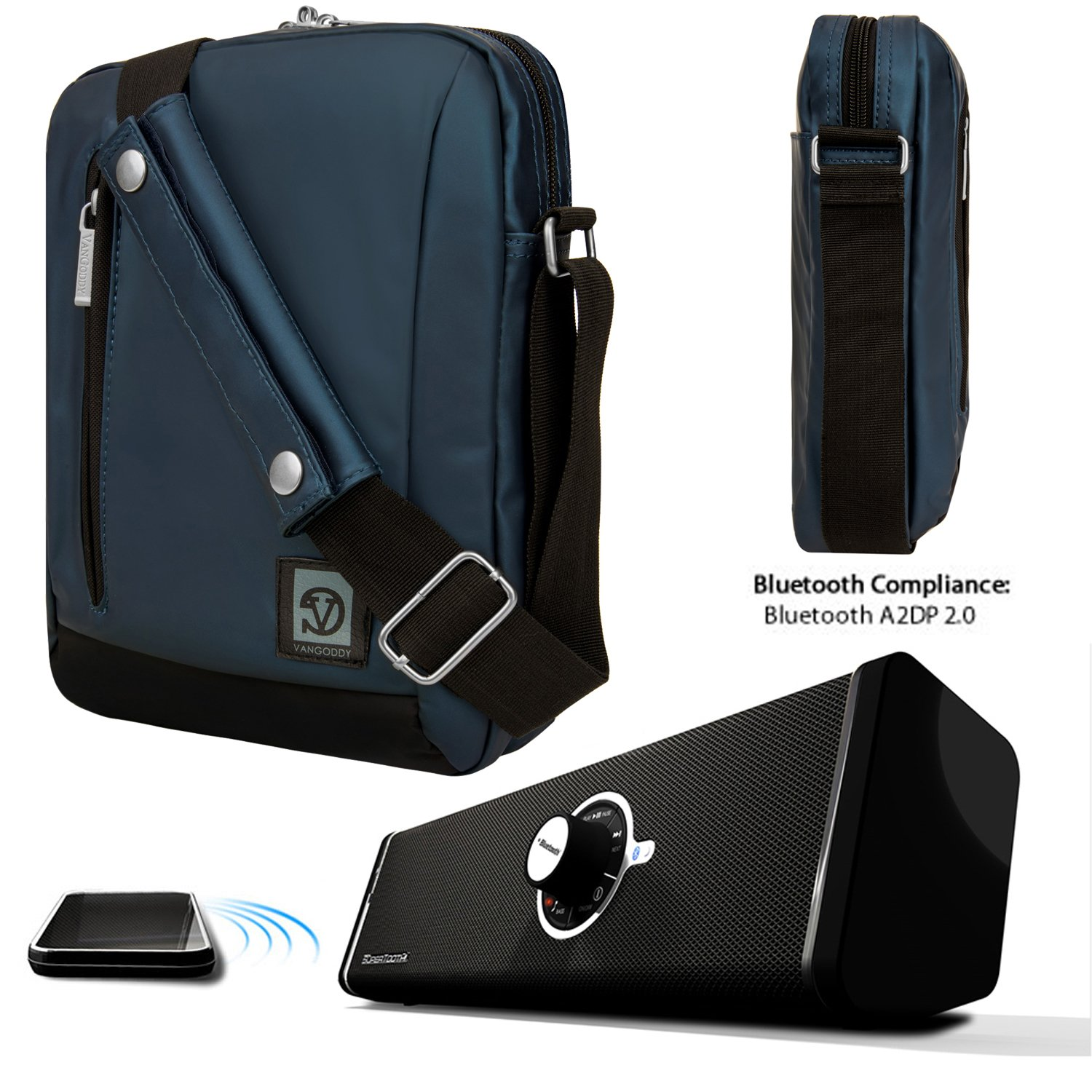 Adler Shoulder Bag Travel Case For Apple iPad Air 2 [New iPad Air] [iPad Air 2 Case] + Bluetooth Speaker by Vangoddy