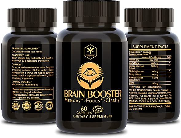 Nootropics Brain Support Supplement, Brain Booster, Lions Mane Mushroom Supplements Improve Brain & Clarity for Men & Women Mind Enhancement Ginkgo Biloba, Dmae, Bacopa Monnieri 60 Capsules