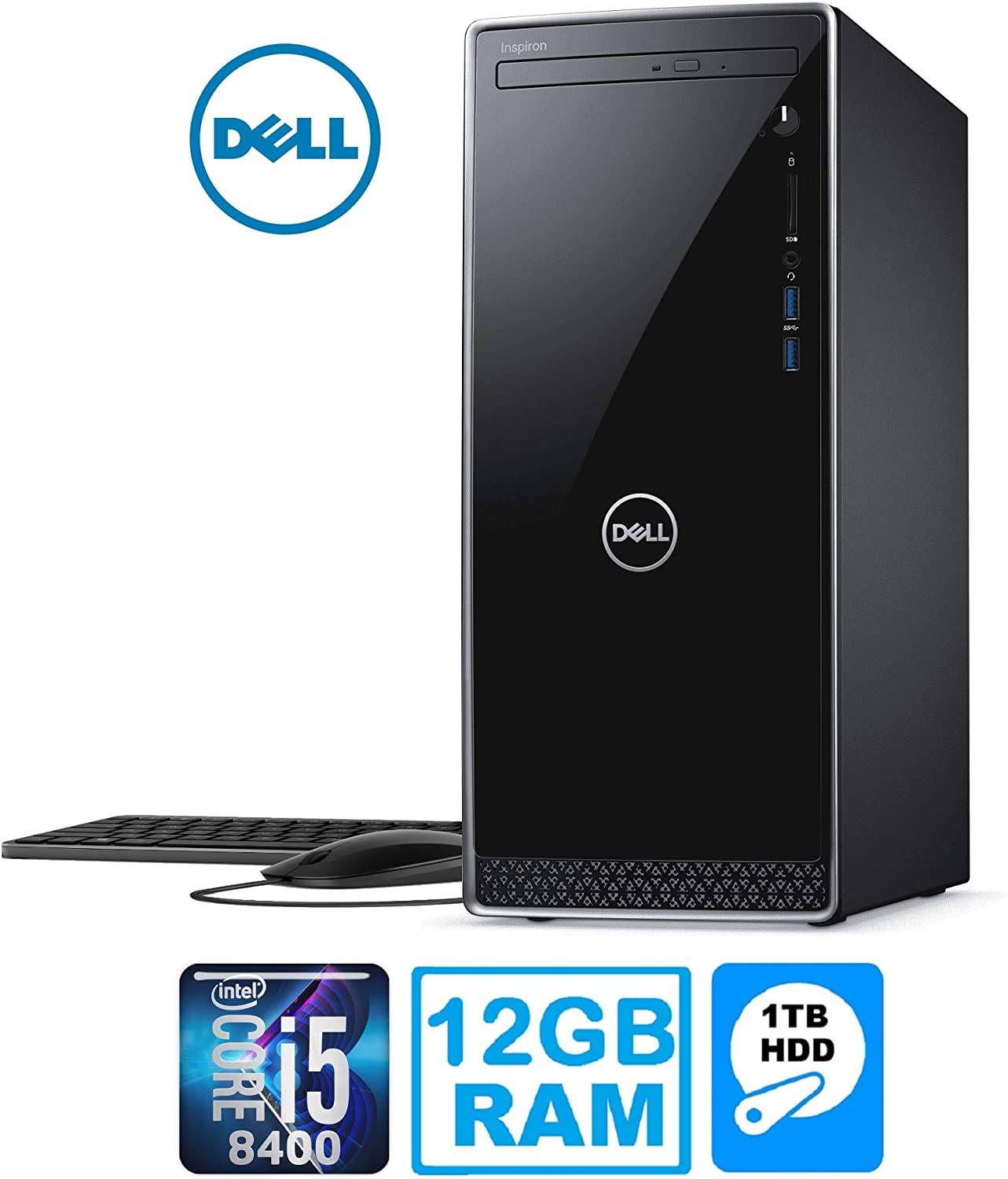 Dell Inspiron 3670 Desktop PC with Intel Core i5-8400 12GB 1TB HDD Windows 10 (Renewed)