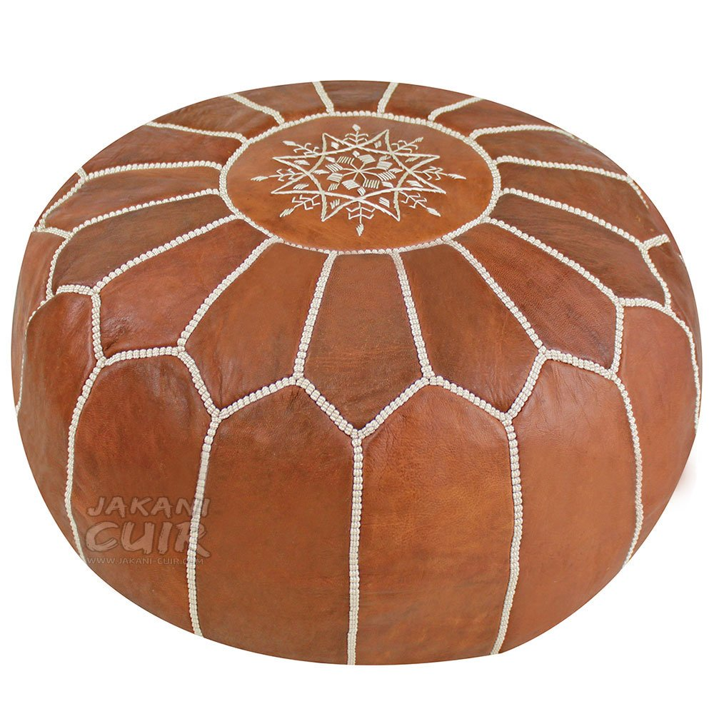 JAKANI Cuir Handmade Leather Moroccan Pouf| Footstool Ottoman Brown| Genuine Leather Dark Tan with Beige Stitching| Unstuffed