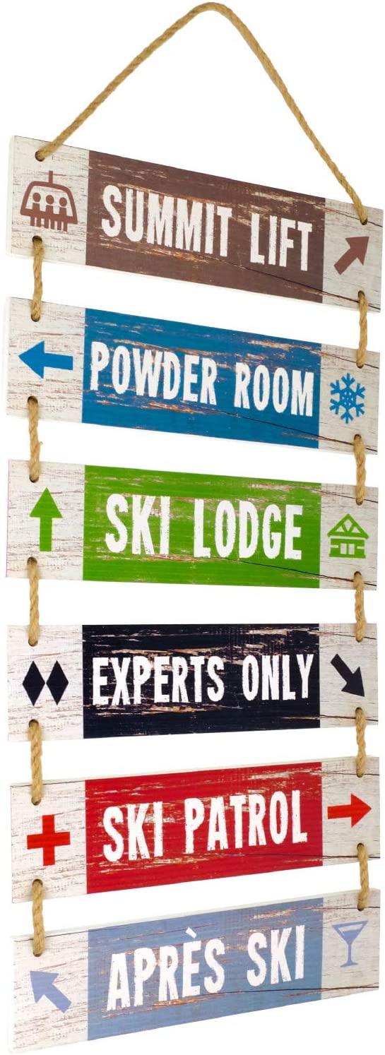 Excello Global Products Large Hanging Wall Sign: Rustic Wooden Decor (Summit Lift, Powder Room, Ski Lodge, Experts Only, Ski Patrol, Apres Ski) Hanging Wood Wall Decoration