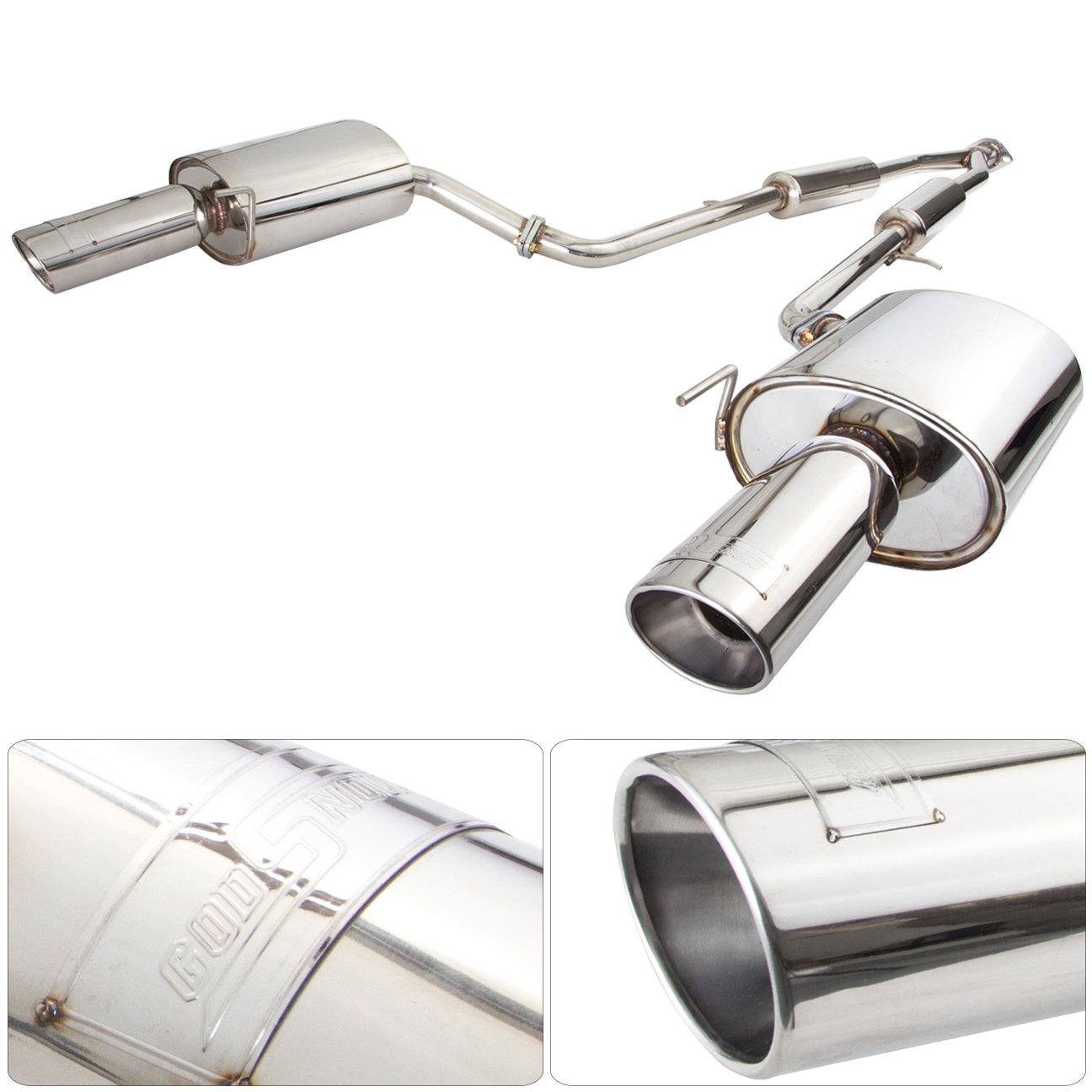 Brightt Compatible With 03-07 G35 Coupe Stainless Steel Dual Exhaust with Y-Pipe 03 04 05 06 07