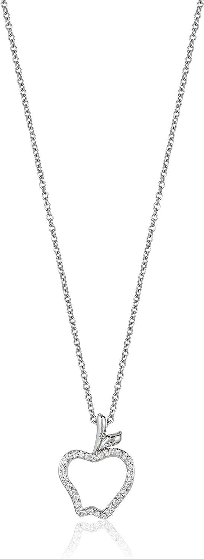 Jewelili Enchanted Disney Fine Jewelry Sterling Silver 1/10 CTTW Snow White Apple Pendant