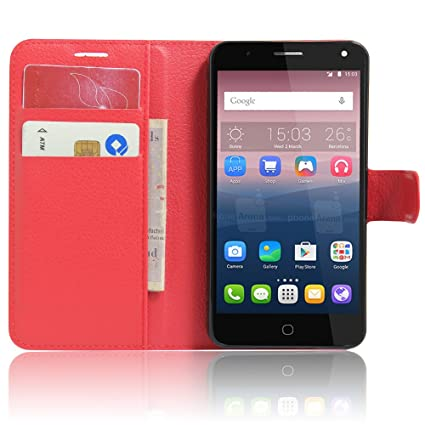 Nadakin Alcatel Pop 4 Calidad Premium Cartera de Cuero con Carcasa de Teléfono Flip Funda con Soporte Magnetico de Cierre para Alcatel Pop 4(rojo)