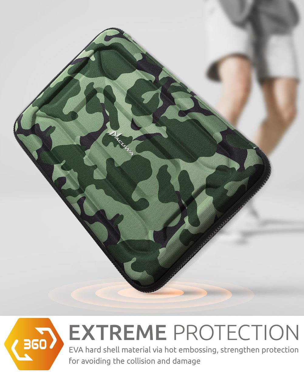 Protective Laptop Case: 13 - 13.3 Inch Computer Carrying Sleeve for 2018 New Macbook Air, Pro, Microsoft Surface or Chromebook - Padded, Waterproof and Shockproof Hard Lap Top Cover Cases - Camo by Nacuwa (Image #3)