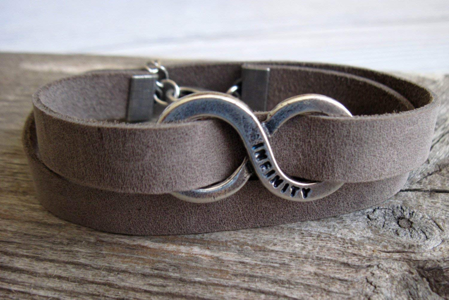 Infinity Bracelet For Men Handmade Wrap Gray Genuine Leather Bracelet For Men Set With Silver Plated Infinity Pendant By Galis Jewelry