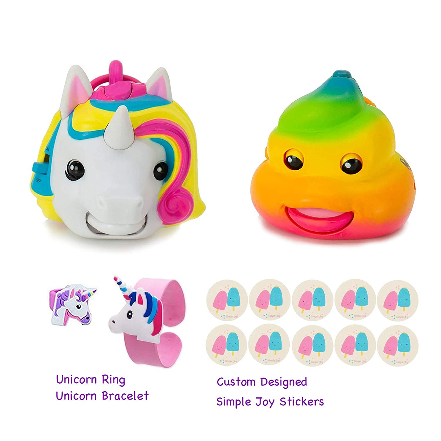 Mojimoto Animated Talking Mojis Repeating Talk Back Toy That Records Repeats Lip syncs to Music Unicorn Rainbow Poo 2 Pack Set Free Unicorn Gift Simple Joy