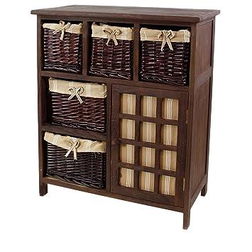 Mueble de madera con 5 cestas de mimbre + 1 puerta. Color Cafe ...