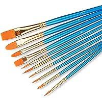 Neiklin 10 Pcs Art Paint Brush Set, Anti Shed Nylon Artist Paint Brushes kit of Different Sizes for Oil Painting…