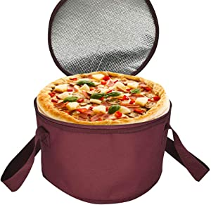 2 Pack 11X7 inch Round Insulated Thermal Pie Carrier Slow Cooker Bag,Reusable Insulated Cake Carriers Casserole Carrier Cooler Bags for Potluck,Picnics,Collapsible Lunch bag for Delivery(Red Color)