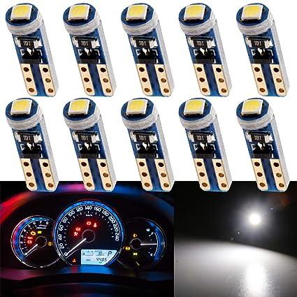 Interior Instrumento del para Blanco 10pcs de Instrumentos Velocímetro 3030 Grandview Tablero de SMD Indicador 1 Automóvil Indicador T5 Bombillas LED LARj54