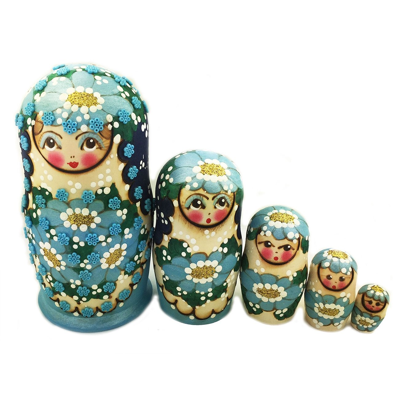 Blue NEW Beaded Matreshka 5 Nested Linden Wood Hand Carved Hand Painted Nesting Doll 5 1//2 Inch