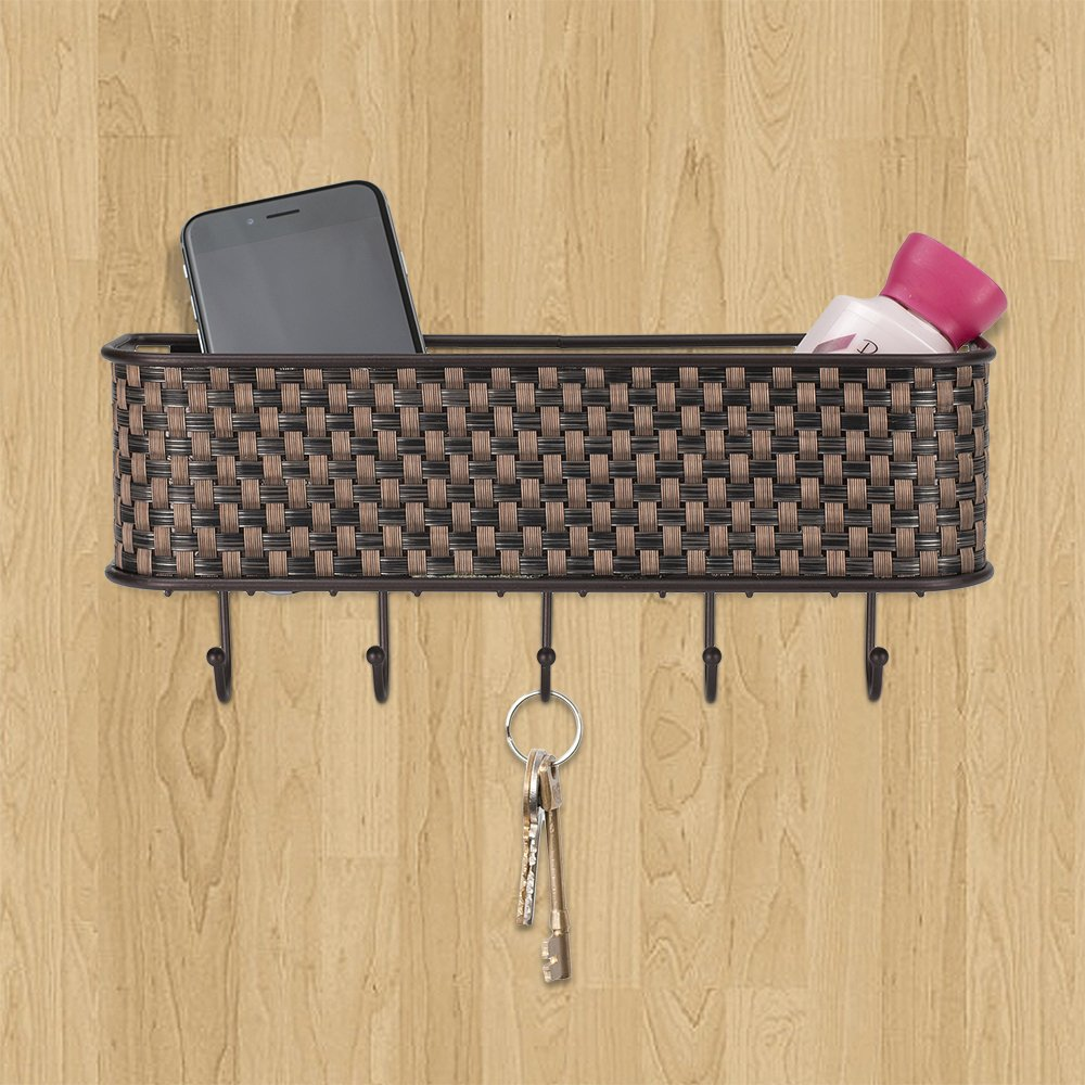 Amazon.com: Home Basics Wall Mount Mail Letter Organizer Basket ...