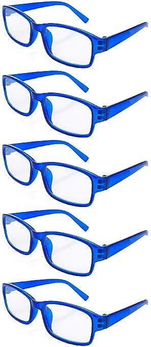 4sold Gafas de Lectura Presbicia Vista Cansada - (Pack 5) Graduadas fde 0.5 a 4.00 Dioptrías Montura de Pasta Azul Marrón Negra Carey Diseño Moda ...
