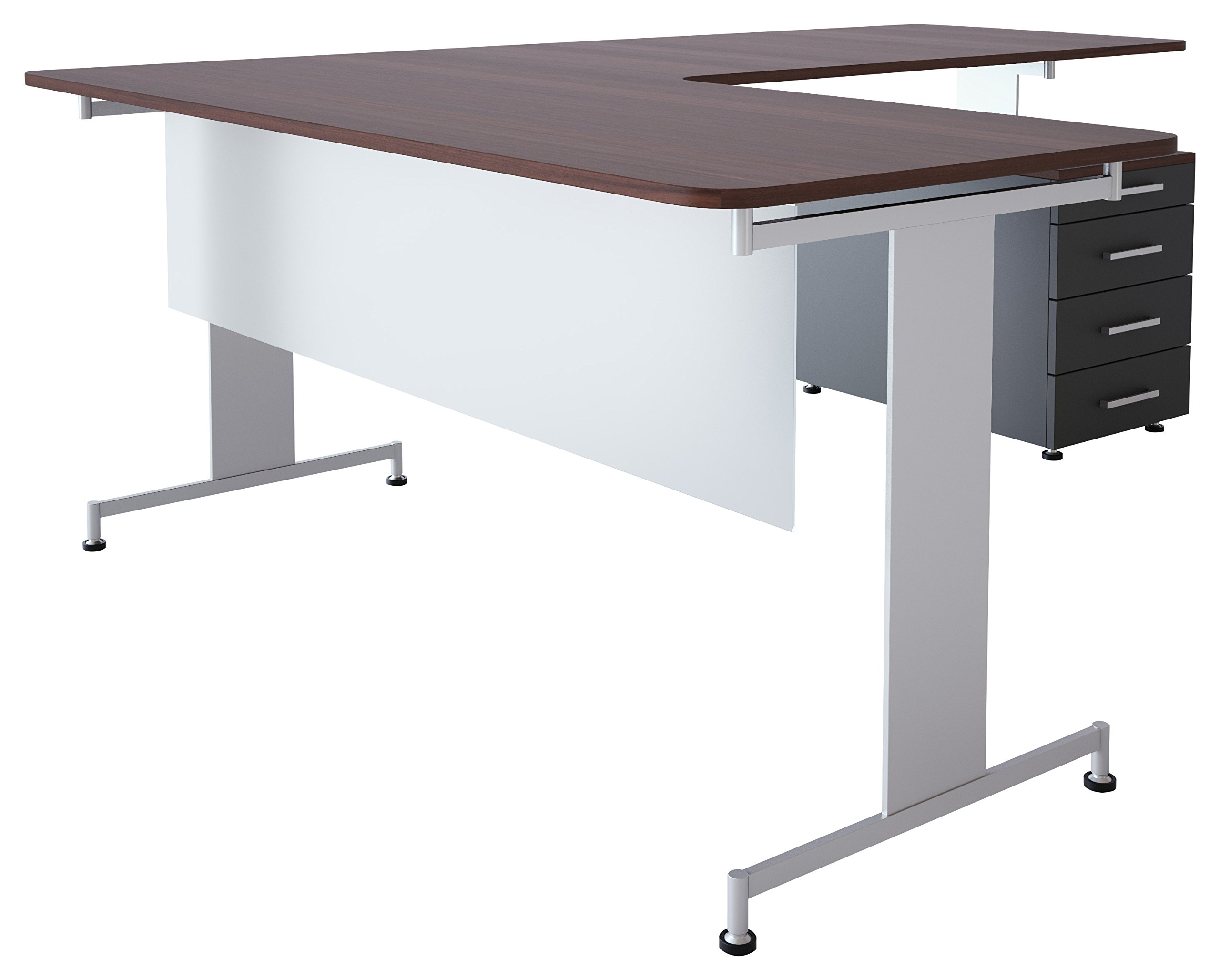 Obex 18X66FA-L-XX-MP 18'' Frosted Acrylic Desk and Table Mounted Modesty Panel, Light Brown Frame, 18'' x 66''