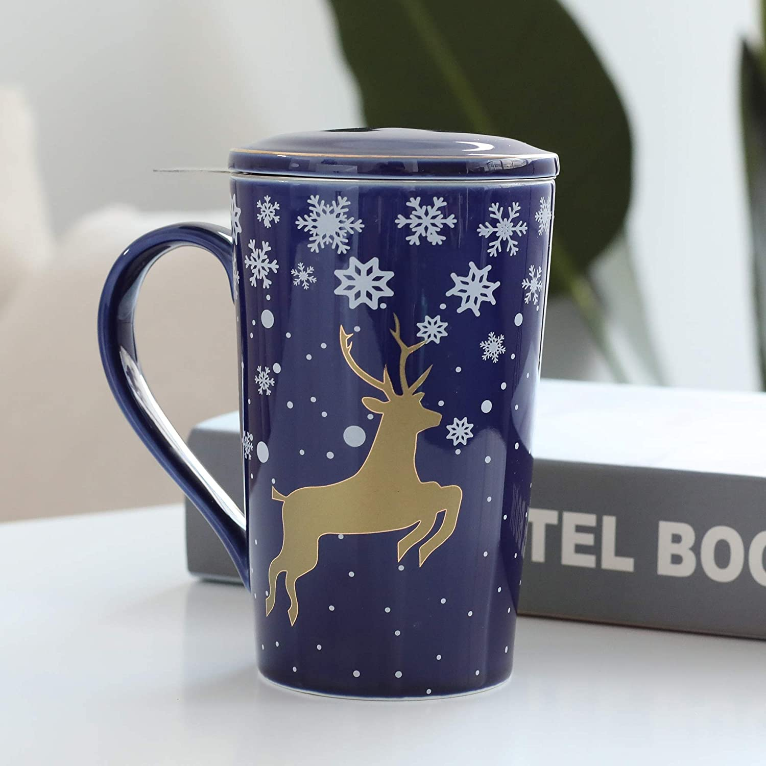 TEANAGOO M58-11 Bone China Tea-Mug with Diffuser and Lid Best Gift for Christmas /& New Year Blue Golden Deer 18 OZ