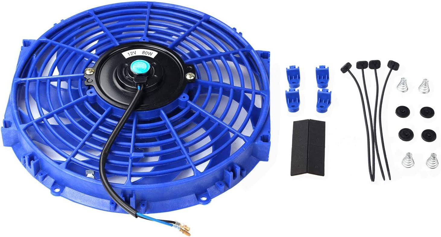 "12"" inch Universal Slim Fan Push Pull Electric Radiator Cooling 12V Mount Kit (Blue)"