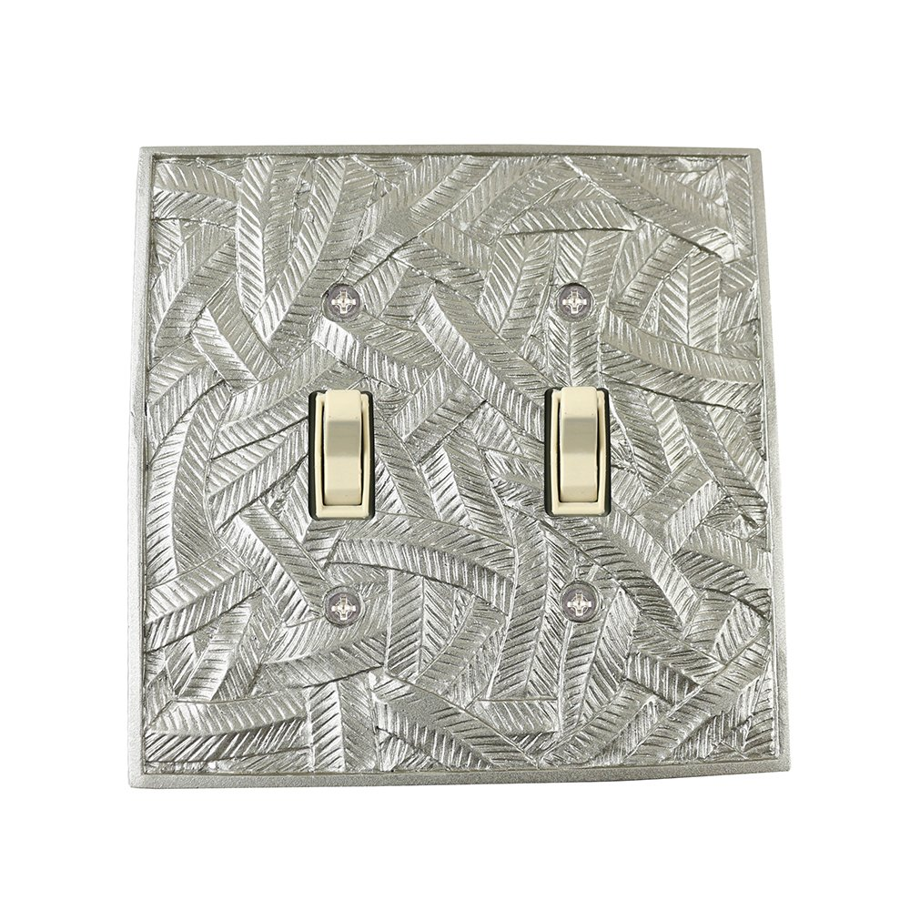 Meriville Island 2 Toggle Wallplate, Double Switch Electrical Cover Plate, Pewter