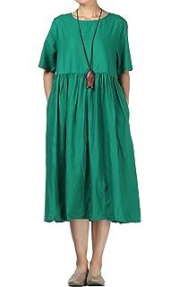 36e4d3229e Mordenmiss Women s Cotton Linen Dress Summer Midi Dresses with Pockets (L  Green)