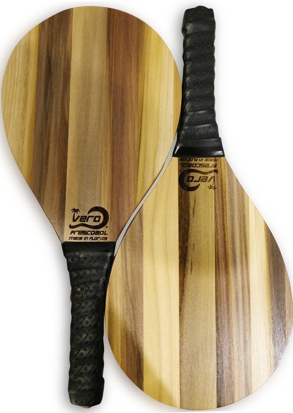Vero Frescobol Exotic Purple Popular Solid Wood Frescobol Beach Paddles, Official Ball, Beach Tote-bag, USA
