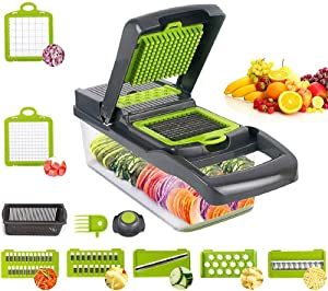 Vegetable Chopper, Onion Chopper Mandoline Slicer Food Chopper with Large Container and Drain Basket - Food Chopper Dicer with 7 Blades