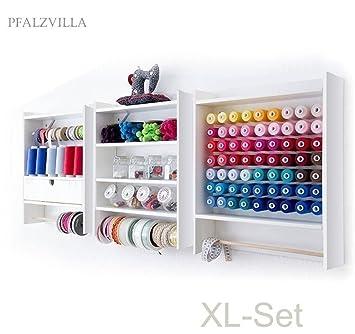 Pfalzvilla XL - Mueble de Tres Módulos para Máquina de Coser y Ganchillo, 3 Estanterías con Estilo Rural: Amazon.es: Hogar