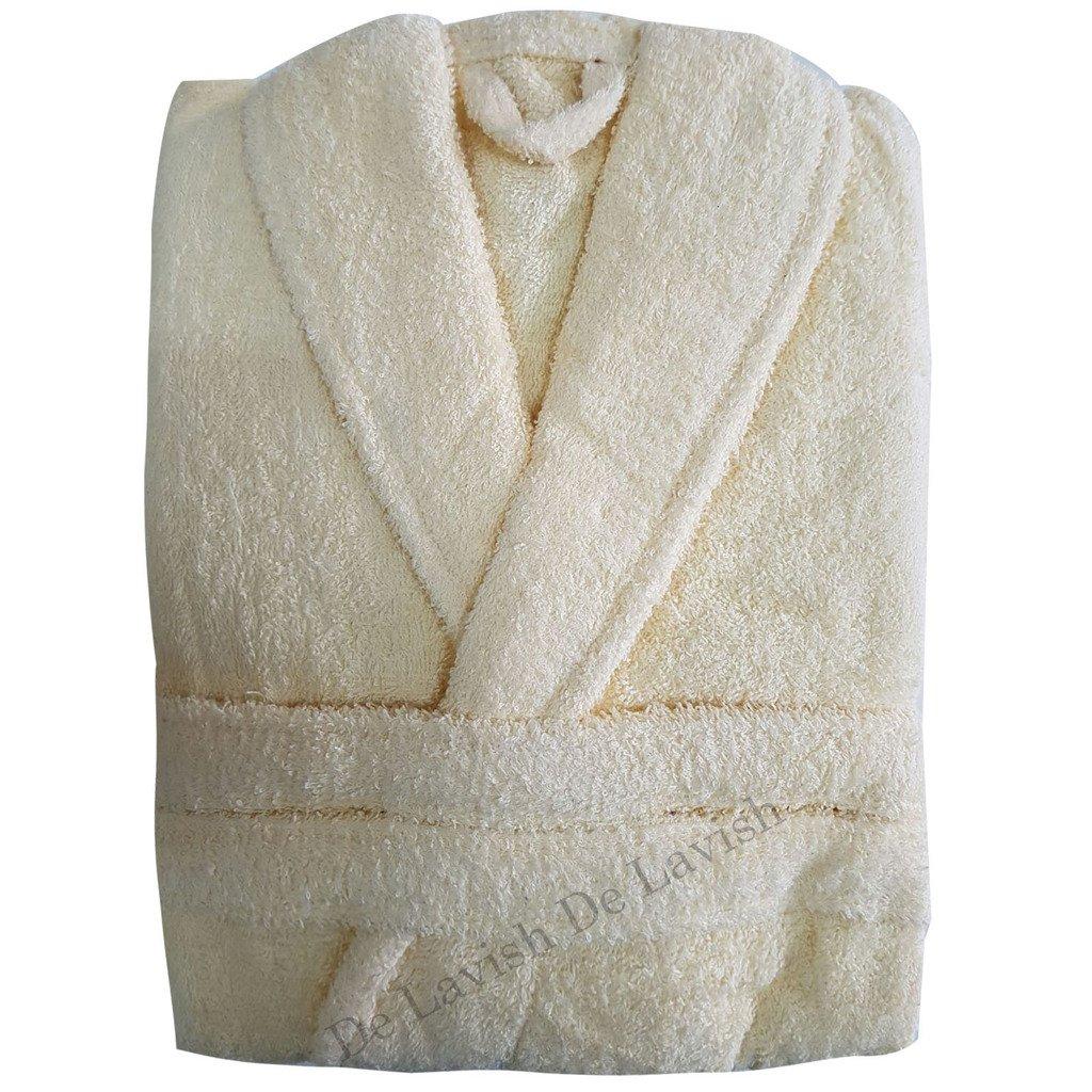 De Lavish Accappatoio Uomo Donna Accappatoio 100% Cotone Egiziano Accappatoio in Spugna Unisex Lungo Formato Libero (Bianco)