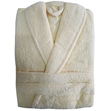 Womens Bathrobe Mens Ladies Bath Robe 100% Egyptian Cotton Dressing Gown  Terry Towelling long Free Size Unisex (Cream)  Amazon.co.uk  Kitchen   Home 6b815782c