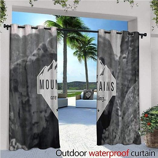 Adventure - Cortina de privacidad para exteriores con diseño de pérgola y paisaje, con cita motivadora, impresión de obras de arte, aislante térmico, repelente al agua, para balcón, gris oscuro, gris oscuro: