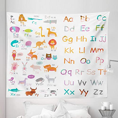 Lunarable Zoo Tapestry King Size, Colorful Alphabet Zoo Letters Learn to Read Mr.Bear Tiger Iguana Monkey Unicorn Ant, Wall Hanging Bedspread Bed Cover Wall Decor, 104 X 88 , Orange